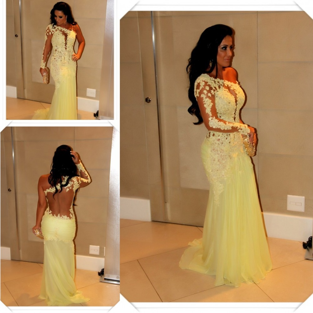 7f66d22bd89 Sexy One Shoulder with Long Sleeves Sexy Sheer Back Mermaid Yellow Prom  Dress Evening Dress