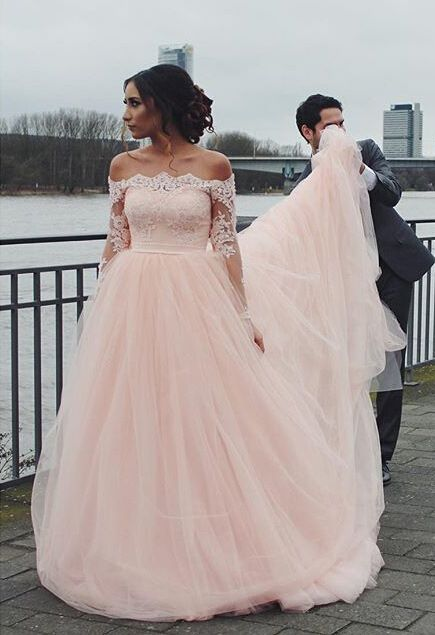 Off The Shoulder Wedding Gown, Blush Pink Wedding Dress, Tulle ...
