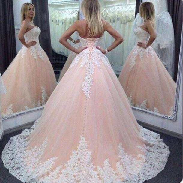 2016 Vintage Pink Lace Tulle Long Wedding Dress Ball Gown Plus Size