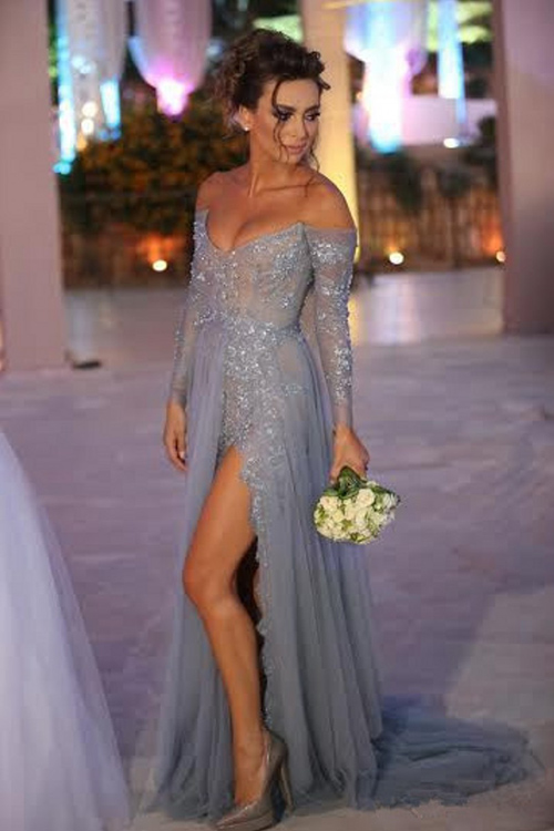 f41334c3c6b Long Sleeve Off Shoulder Tulle And Lace Long Prom Dress With Side Slit  ,Evening Dress, Grey Prom Evening Dress, Long Party Dresses, Dresses For  Prom