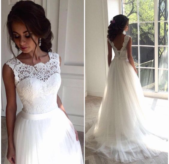 Illusion Neckline Wedding Dress Lace And Tulle Wedding Dress