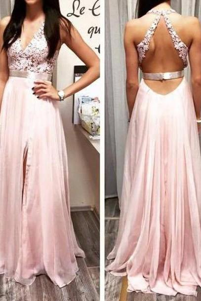 Custom Made A Line Round Neckline Backless Prom Dresses 2015, Formal Dresses 2015, Evening Dresses 2015